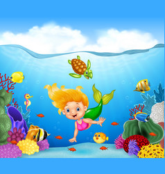 Cartoon mermaid with beautiful underwater world vector