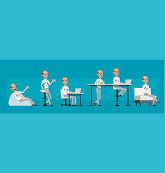 cartoon scientist or doctor character set vector image