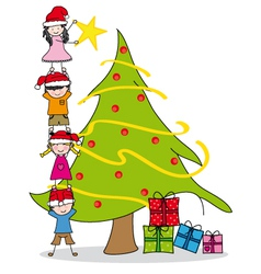 Children decorating a Christmas tre vector image vector image
