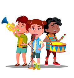 Children ensemble play musical vector