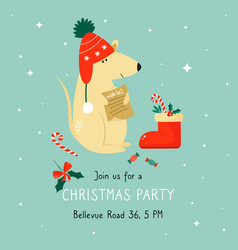 christmas invitation template with funny mouse vector image