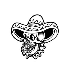 cinco de mayo skull head with sombrero silhouette vector image