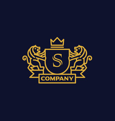Coat arms letter s company vector