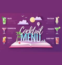 cocktail menu design cut out paper art style vector image