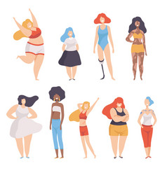 Collection of beautiful multiracial women of vector