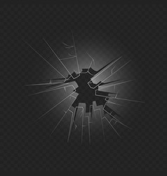 crashed window glass 3d realistic vector image