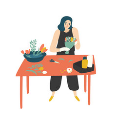cute happy woman standing at table and making vector image