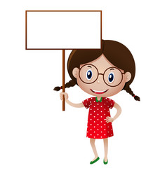 cute little girl holding white sign vector image