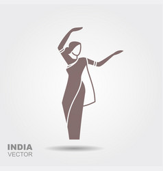 Dancing indian woman in traditional clothing vector