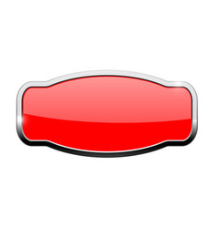 decorative red button web icon with chrome frame vector image