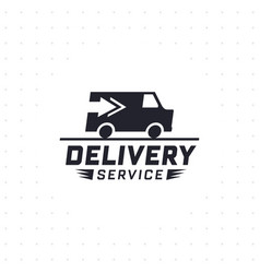 delivery service with truck van in black color vector image