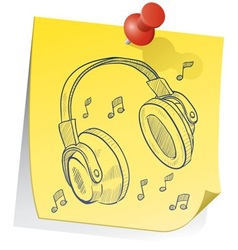 doodle sticky note headphones vector image