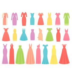 dresses for women female textile flat design vector image