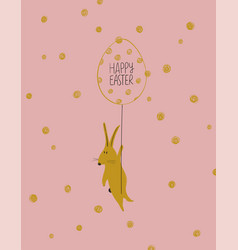 Easter greeting card with funny bunny vector