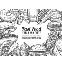 fast food sketch hand drawn hot dog pizza vector image