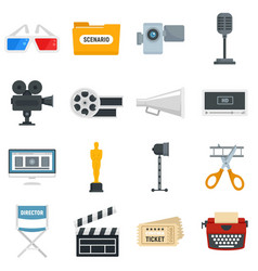 Film production icons set flat style vector