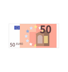 flat simple fifty euro banknote isolated on white vector image