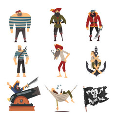 funny pirates collection male buccaneers cartoon vector image
