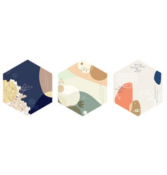 geometric circle backgrounds with japanese vector image