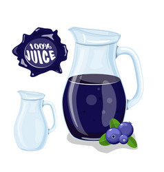 glass jug with natural juice ripe blueberries vector image