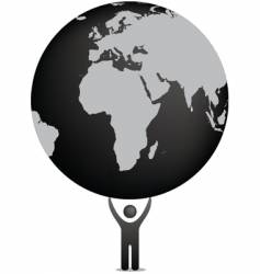 globe and icon figure vector image