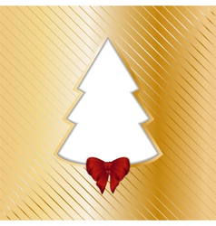 Gold Christmas backgound with cut out tree vector