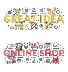 Great Idea and Online Shop headings titles vector