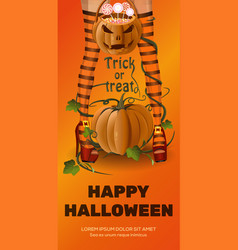 Halloween design with girl in striped stockings vector