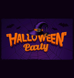 halloween party banner with pumpkin lettering and vector image