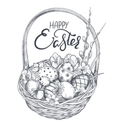 hand drawn ornate eggs and vector image