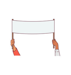Hands holding blank white placard or banner vector