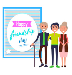 happy friendship day greeting card with friends vector image