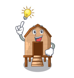 Have an idea chicken in a wooden cartoon coop vector