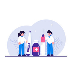 healthcare concept doctor with syringe hold in vector image