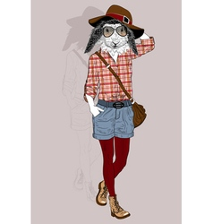 Hipster Animal Rabbit portrait vector image