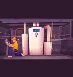 home basement with plumber boiler and pipes vector image