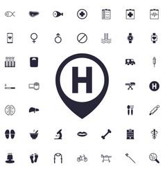 Hospital location icon vector