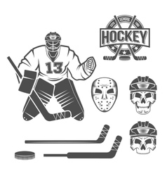 Ice hockey goalie elements vector