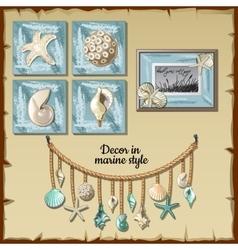 Image set of the interior ocean decor vector image