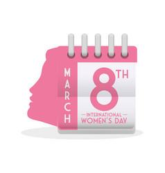 International womens day calendar girl profile vector