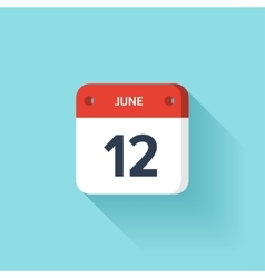 June 12 Isometric Calendar Icon With Shadow vector