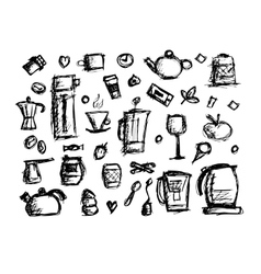 Kitchen utensils sketch drawing for your design vector image vector image