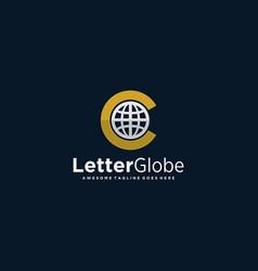 logo letter c globe line art style vector image