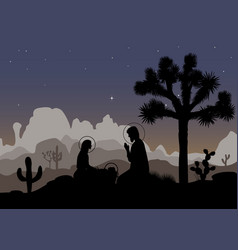 Nativity scene and mexican night landscape saint vector