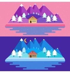 Nature landscape in flat vector image