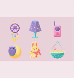 newborn baby accessories set baby shower elements vector image