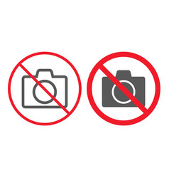 no camera line and glyph icon prohibition vector image