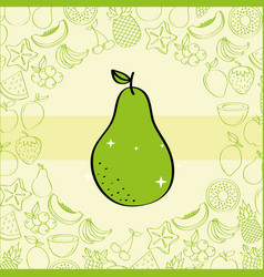 pear fruits nutrition background pattern drawing vector image