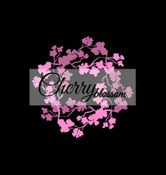 Pink sakura blossom japanese cherry black vector