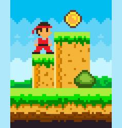 pixel-game ninja male brave character pixelated vector image